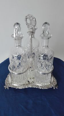 "Bottle stand in Sheffield ""F B"" - Three antique crystal bottles"