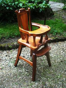 Unique handmade high chair in Art and Crafts style, 20th century