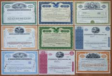 USA - 9x Different Automobile & Car Company Stock & Bond Certificates - 1926-1980