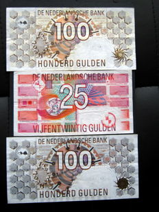 Netherlands - 2 x 100 guilders 1992 and 1 x 25 guilders 1989