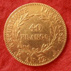 France - 40 Francs An 12 A (Paris) - Bonaparte Premier Consul - Or