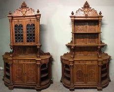 Pair of neo-Gothic walnut buffets - Verona, Northern Italy - circa 1890