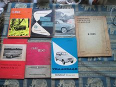 Instruction booklets (MG/Fiat/Renault/VW, 7x, 1959-1977)
