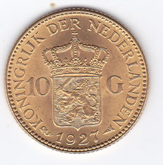 The Netherlands - 10 guilder 1927 Wilhelmina - gold