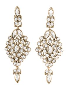 Oscar de la Renta Clear Swarovsky Crystal Dangle Earrings