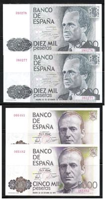 Spain - 2 x 5,000 Pesetas 1979 Correlative Without serial -- 2 x 10,000 Pesetas 1985 Correlative Without serial