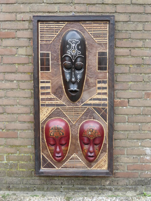 3 African Masks on Panel