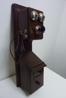 Wooden wall telephone with nickel bells, Bell Telephone Antwerp, early 1900s