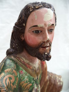 Sculpture of Christ in polychrome wood with glass eyes - Spain - c. 1750-1800