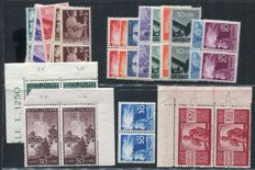 Italian Republic, 1946 -- Democratic, in pairs, with variety on the 100 lire stamp (narrow value) -- Sassone  nos. 543–563