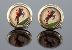 Vintage gold plated Horse riding cuff links