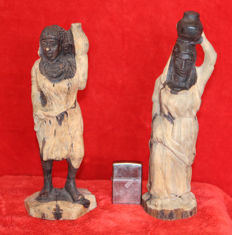 2 Ebony Figurines - Water Carriers
