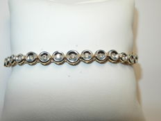 Tennis bracelet, tapering, made of 585 gold with 43 brilliants approx. 0.80 ct