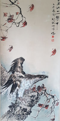 Hand-painted ink scroll painting《高剑父-鹰》- China - late 20th century
