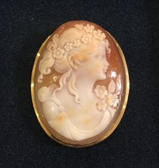 Cameo pendant / brooch, in 18 ct gold and Carnelian