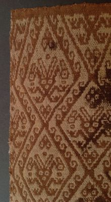 Pre-Columbian textile fragment with humans and stylized sea birds - Chancay culture Peru - 22 cm