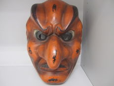 A very large plaster made bugaku mask of a fierce Bato - Japan - Early 20th century