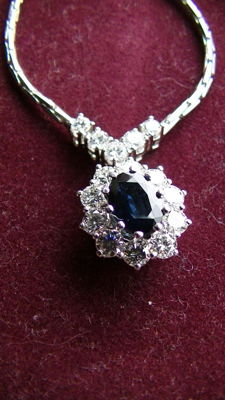 Chain necklace 585 white gold sapphire 1ct & brilliant 1ct
