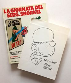 "Walker, Mort - hardcover volume with dust jacket. Beetle Bailey ""La giornata del serg. Snorkel"" + original illustration  (1975)"