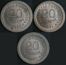 "Portugal - 3 Coins of 20 Centavos - 1920 + 1921 ""Open P"" and 1921 ""Closed P"" - Portuguese Republic - AG: 13.01, 13.03 and 13.04 - FDC/UNC"
