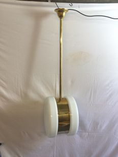 Unknown designer - Original Art Deco lamp made of milk/opaline glass with broze fixture