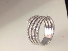 White gold 18 kt ring Diamonds 0.53 ct - colour H-I clarity I-1
