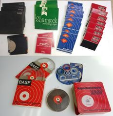 29 reel to reel tapes + empty reels and mounting set