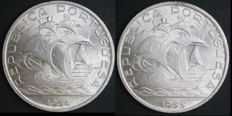 Portugal, Republic -- 10 Escudos 1954 and 1955 (2 coins) -- silver