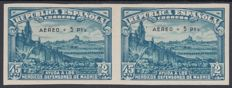 Spain 1938 - Defence of Madrid. Air Mail. Pair of imperforated stamps - Edifil 759s.