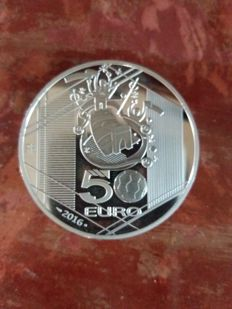 "France - 50 euros 2016 ""Football European Championship"" limited edition 500 pieces - 163.8g silver"