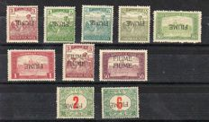 FIume, 1918/1919 - small lot with various overprints