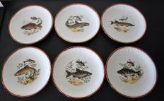 Authentic porcelain Chadelaud Limoges - Set of 12 beautiful plates decorated with images of fish.