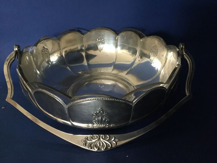Silver plated dish with crystal insert