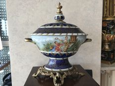 Hand made vegetable dish with lid, Sevres style
