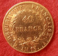 France - 40 Francs Year 13 A (Paris) - Napoleon I - Gold