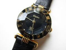 Chatex 18 kt gold-plated - women's wristwatch - facet cut glass - 1980s