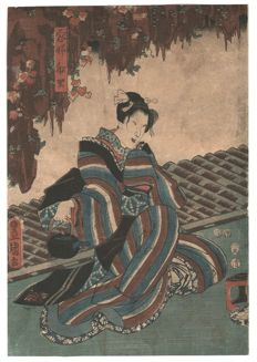 Utagawa Kunisada, ( 1786 - 1865 ) - Female with tea pot - 1853