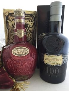2 bottles - Red decanter Royal Salute 21 years old and 'The Century of Malts', 100 single Malts.