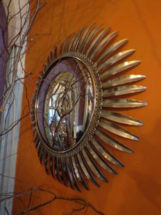 Large format butler mirror (Sun ray mirror) copper/brass - from the 60s/70s