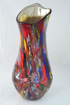 "Mario Costantini - large vase ""lingua di fuoco"", unique piece (61 cm)"