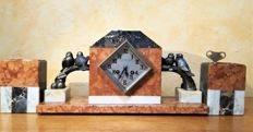 Fireplace clock set - Design by sculptor Balles - A L'Etoile d'or.