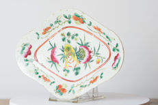 Antique Famille Rose Porcelain Footed Offering Dish - China - 19thC, TONGZHI Period