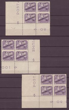 Fiume, 1922 -- Mint print run, Foundation study, 3 blocks of 4 (6 vertical copies) not perforated in the centre -- Sass. No. 185u