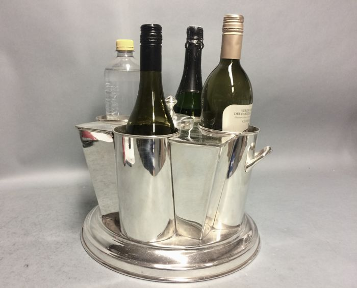 Silver plated wine cooler or champagne cooler for four bottles with ice container in the centre, late 20th century