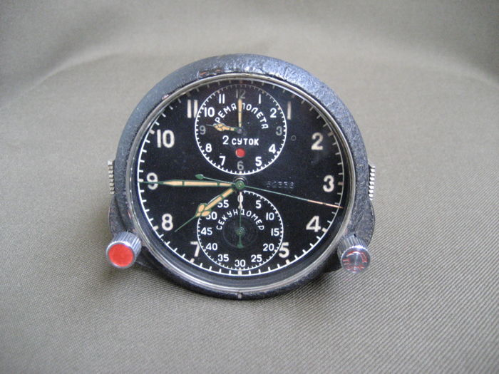 Poljot Chronograph ( AChS-1 ) - Original Russian military aviation clock for the MiG-15 fighter jet (СССР/USSR) - 1950s.