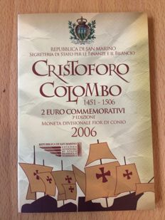 "San Marino - 2 Euro coin 2006 ""500th anniversary of the death of Christopher Columbus"""