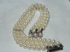 Pearl bracelet Akoya pearls approx. 6.1mm in diameter 14kt 585