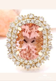 **NO RESERVE**-Axclusive-13.60carat Natural Morganite And Diamond Ring In 14K Yellow Gold - Ring Size: 7 - O - 17 1/2 - 54 - 17.3