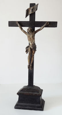Wooden Christ painted XVIII height 47cm France