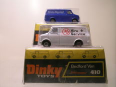 Dinky Toys - Scale approx. 1/50 - Lot with 2x Bedford CF Van / Bus John Menzies & MJ Hire + Service No.410